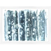 Framed art piece showing a birch tree cluster impression painting