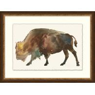 Framed art piece showing a buffalo watercolor impression painting