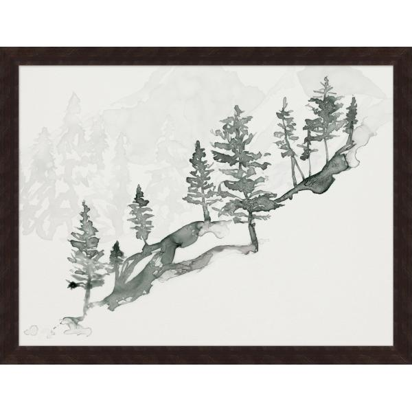 Framed art piece showing a mountain cascade landscape impression painting