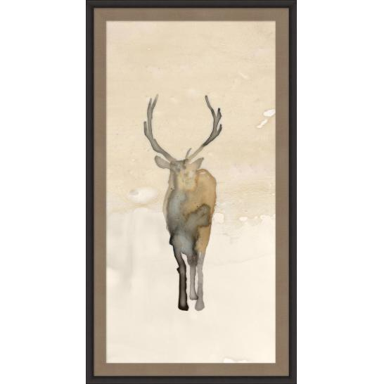 Framed art piece showing a deer watercolor impression painting