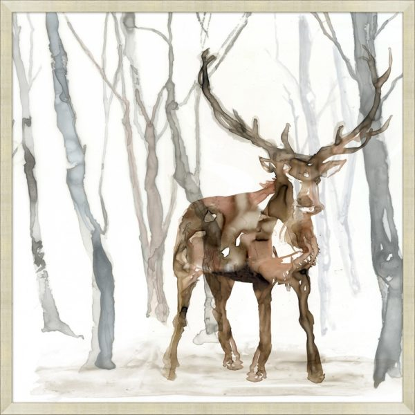 Framed art piece showing an elk in the forest watercolor impression painting