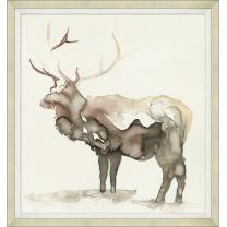 Framed art piece showing an elk watercolor impression painting