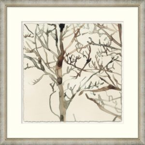 Framed art piece showing a watercolor impression of tree branches