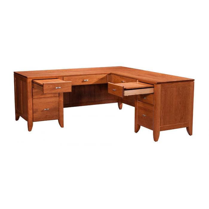 Simply Amish Justine writing desk drawers opened