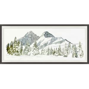 Framed art piece showing a winter mountain forest landscape watercolor painting