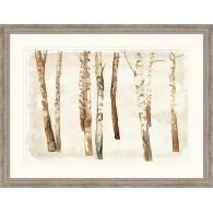 Framed art piece showing a winter solstice painting scene with birch trees in the woods